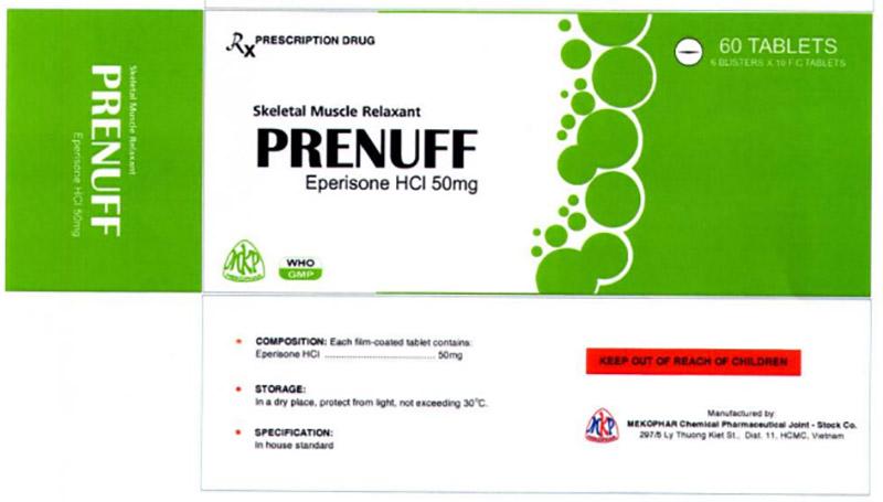 Thuốc giãn cơ Prenuff đang được bán trên thị trường với giá khoảng 120.000 vnđ/ hộp