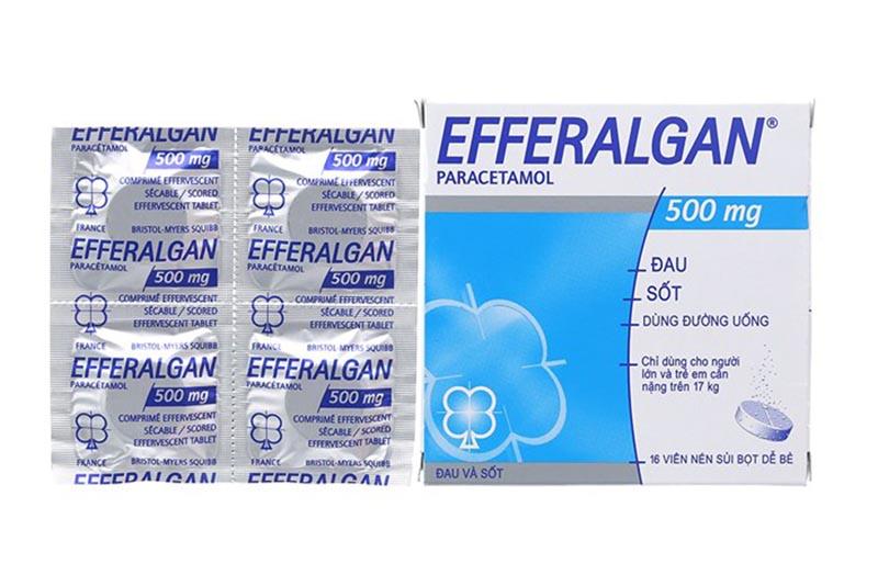 Một viên sủi bọt Efferalgan 500mg gồm 500mg Paracetamol và các tá dược khác