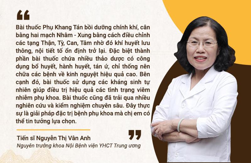 Bác sĩ Vân Anh đánh giá cao cơ chế điều trị đau bụng kinh của Phụ Khang Tán