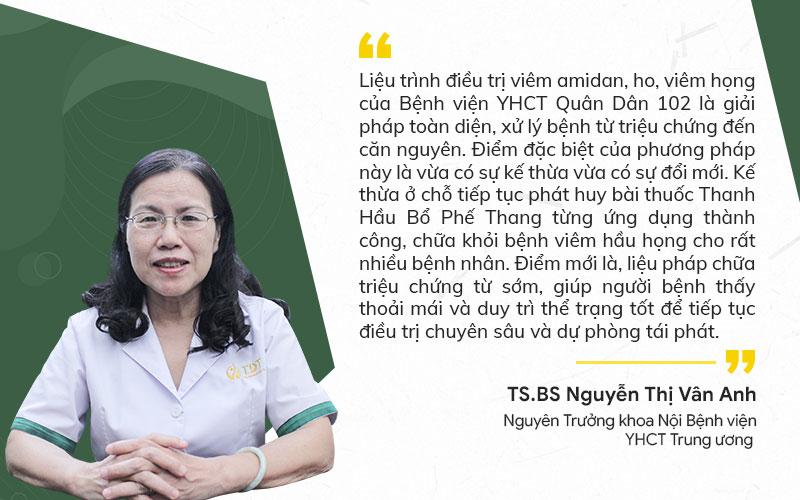 Bác sĩ Vân Anh nhận xét giải pháp chữa viêm họng tại Bệnh viện Quân dân