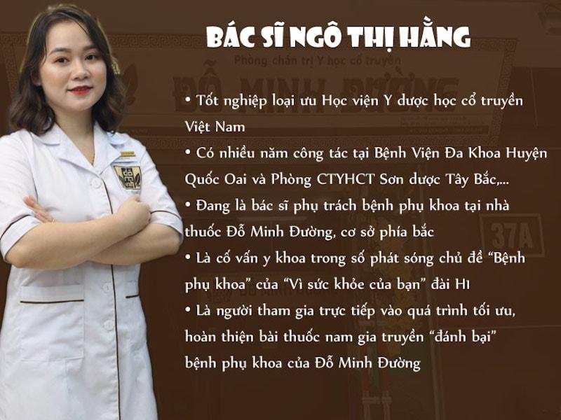 BS Ngô Thị Hằng - Chuyên gia phụ khoa tại nhà thuốc Đỗ Minh Đường
