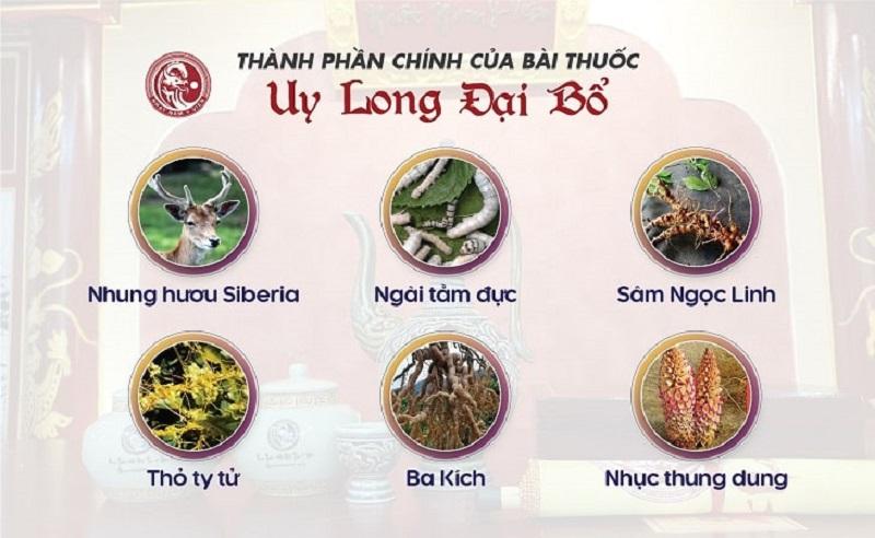 Uy Long Đại Bổ có các thành phần đều là vị thuốc thuần tự nhiên, an toàn cho sức khỏe