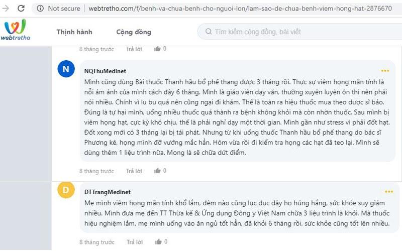 Bệnh nhân viêm họng nói về Thanh hầu Bổ phế Thang trên webtretho