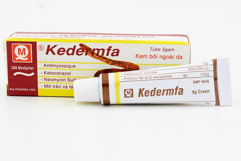 Thuốc trị hắc lào Kedermfa được bào chế với thành phần chính là mỡ trăn