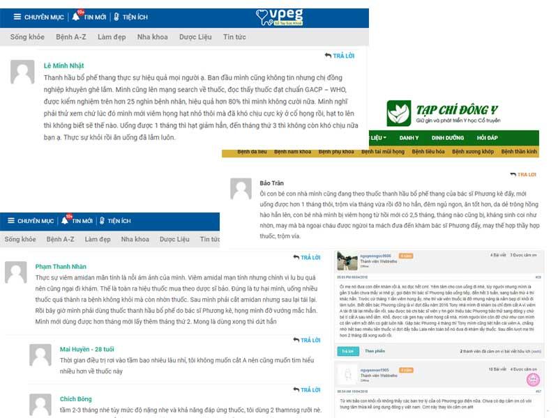 Một số bệnh nhân để lại chia sẻ trên các trang tin sức khỏe uy tín như Tạp chí Đông y, Sổ tay sức khỏe Vpeg, Webtretho...