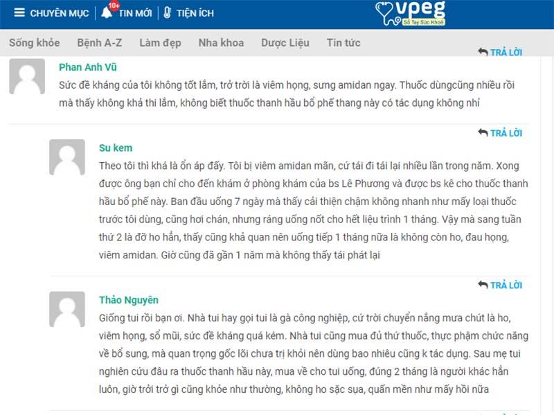 Chia sẻ của tài khoản Su Kem về hiệu quả bài thuốc Thanh hầu bổ phế thang