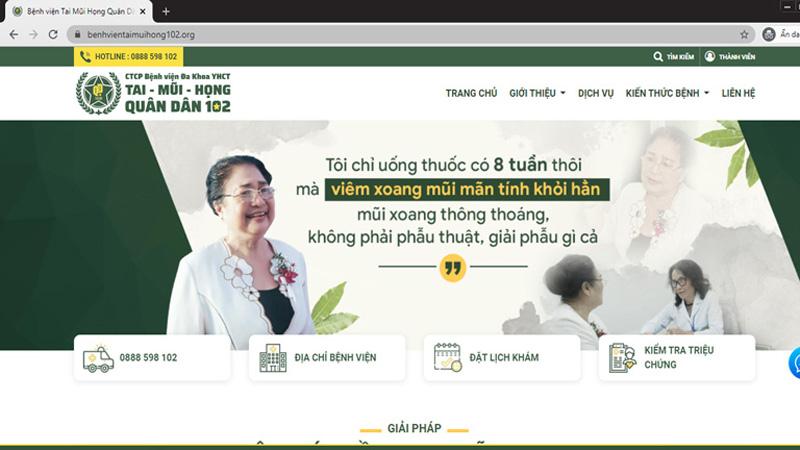 Trang chủ của website Bệnh viện Tai Mũi Họng Quân dân 102