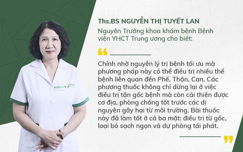 Bác sĩ Tuyết Lan đánh giá cao phác đồ chữa viêm amidan hốc mủ Quân dân 102