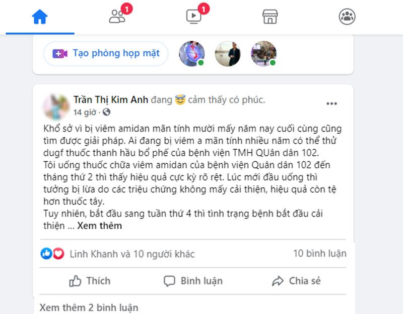 Chia sẻ của bệnh nhân chữa viêm amidan bằng bài thuốc Thanh hầu bổ phế thang (Nguồn FB Trần Thị Kim Anh)