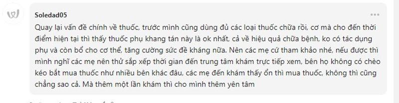 Lời khen ngợi của bệnh nhân dành cho Phụ Khang Tán