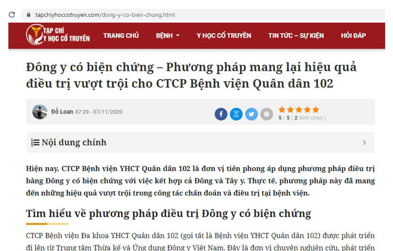Tạp chí YHCT đưa tin về phương pháp Đông y có biện chứng