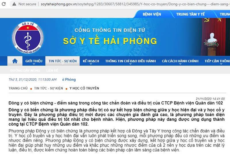 Cổng thông tin Sở Y Tế Hải Phòng đưa tin về phương pháp Đông y có biện chứng