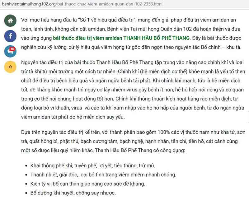 Bài thuốc Thanh hầu bổ phế thang chữa viêm amidan của Bệnh viện Tai Mũi Họng Quân dân 102