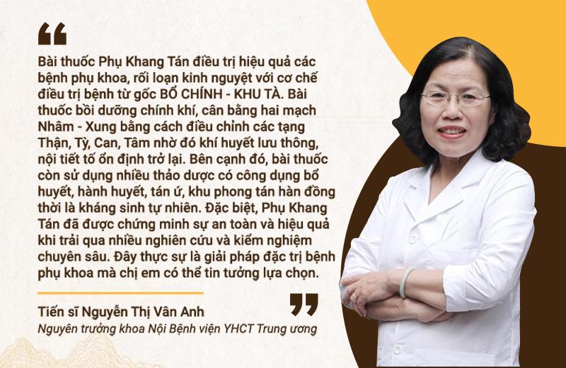 Bác sĩ Vân Anh nhận xét về bài thuốc Phụ Khang Tán