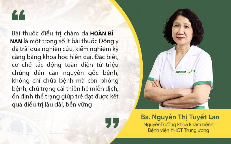 Bác sĩ Nguyễn Thị Tuyết Lan đánh giá cao giải pháp chàm da Quân Dân 102 bằng bài thuốc Hoàn Bì Nam