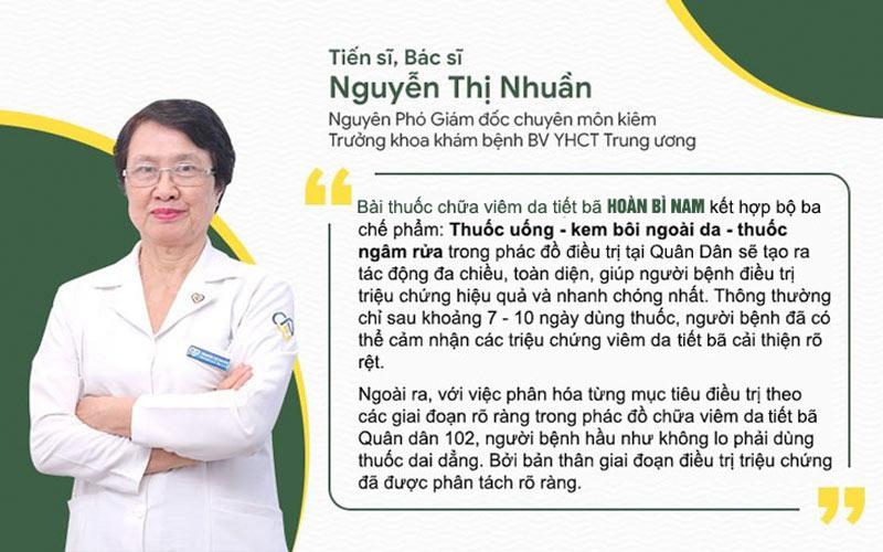 Bác sĩ Nguyễn Thị Nhuần đánh giá về liệu trình trong uống - ngoài bôi của Hoàn Bì Nam