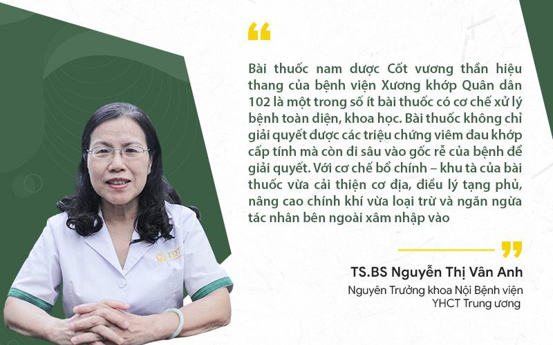 TS.BS Nguyễn Thị Vân Anh nhận định về bài thuốc Cốt vương thần hiệu thang