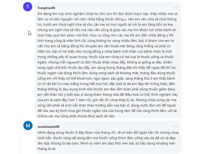 Review của bệnh nhân sau khi sử dụng bài thuốc Phụ Khang Tán