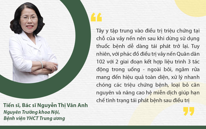 TS.BS nguyễn Thị Vân Anh đánh giá cao về phác đồ vảy nến Quân dân 102