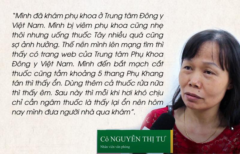 Bệnh nhân Nguyễn Thị Tư chia sẻ