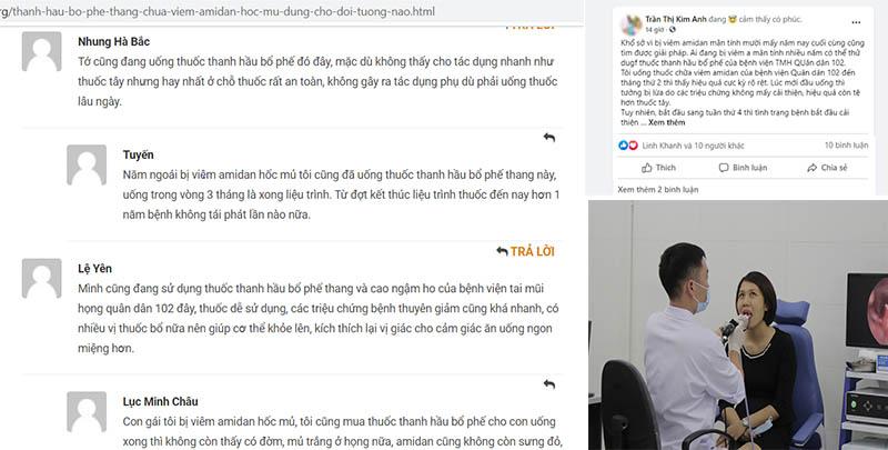 Bệnh nhân phản hổi về hiệu quả thực tế của Thanh hầu bổ phế thang