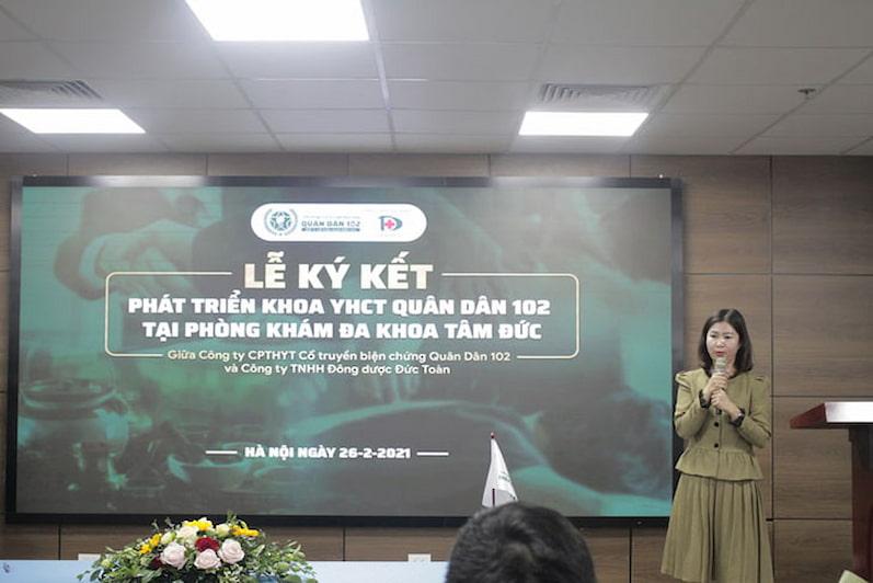 Bà Trần Thanh Hằng (Tổng Giám đốc Công ty CP Tổ hợp y tế cổ truyền biện chứng Quân Dân 102