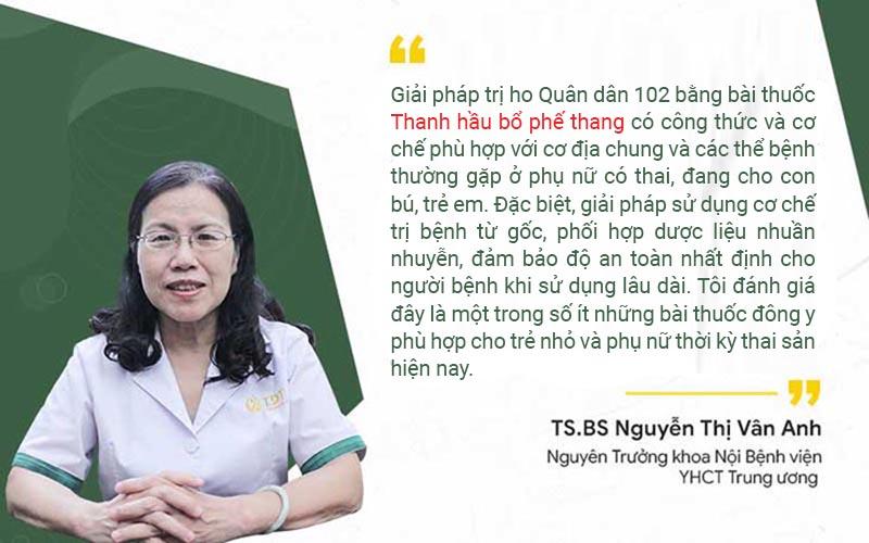 Đánh giá của chuyên gia về giải pháp trị ho Quân dân 102