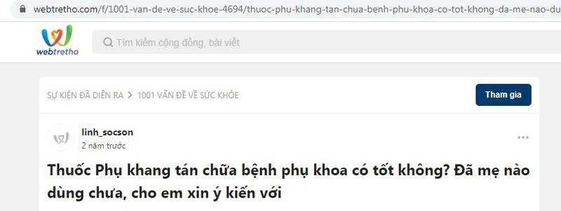 Một post hỏi về Phụ Khang Tán trên webtretho được nhiều người quan tâm