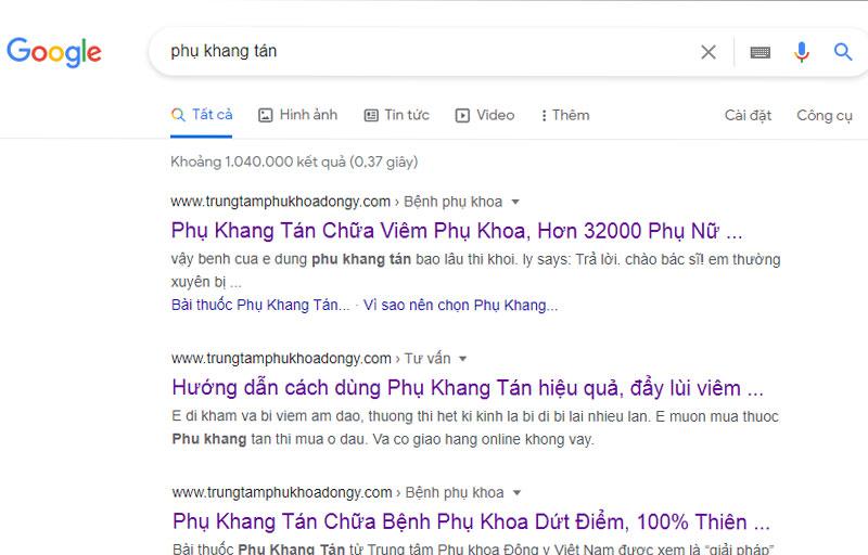 Kết quả tìm kiếm với từ khóa Phụ Khang Tán trên Google
