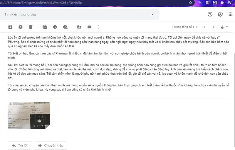 Một phần bức thư của chị Thu Hà