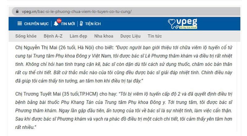 Bác sĩ Lê Phương được bệnh nhân đánh giá cao về chuyên môn và sự nhiệt tình, tận tâm