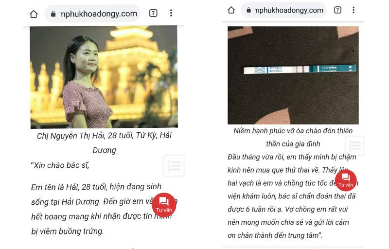 Bệnh nhân Nguyễn Thị Hải chữa khỏi viêm buồng trứng nhờ bác sĩ Lê Phương