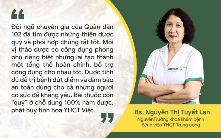 Bác sĩ Tuyết Lan đánh giá cao bài thuốc trị mề đay Tiêu ban hoàn bì thang