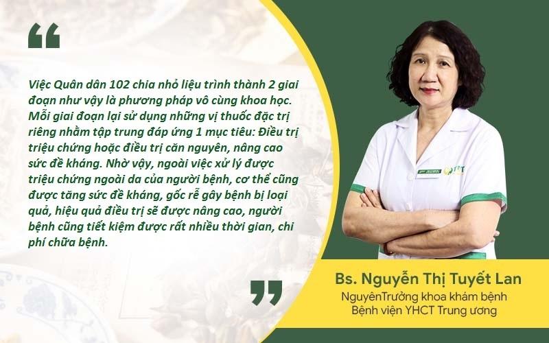 Bác sĩ Tuyết Lan đánh giá cao liệu trình điều trị mề đay khoa học, linh hoạt tại Quân dân 102