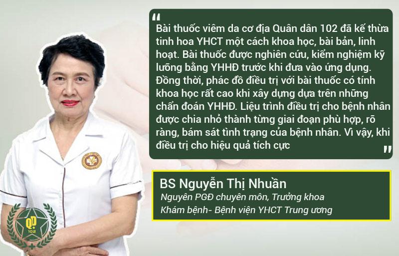 Bác sĩ Nguyễn Thị Nhuần đánh giá cao về bài thuốc viêm da cơ địa Quân dân 102