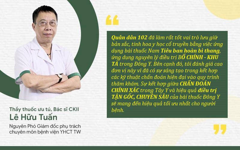 Thầy thuốc ưu tú Lê Hữu Tuấn đánh giá cao giải pháp trị mề đay Quân dân 102