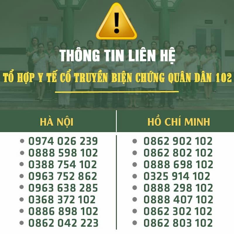 Tổng hợp hotline đang được sử dụng của Tổ hợp y tế cổ truyền biện chứng Quân Dân 102 (tiền thân là Trung tâm Thừa kế & Ứng dụng Đông y Việt Nam)