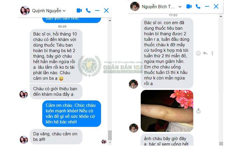 Bệnh nhân gửi feeback về hiệu quả của Tiêu Ban Hoàn Bì Thang