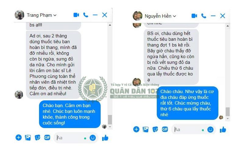 Phản hồi bệnh nhân mề đay gửi về Quân Dân 102 sau khi dùng Tiêu Ban Hoàn Bì Thang