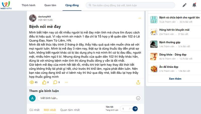 Phản hồi của bệnh nhân về tiêu Ban Hoàn Bì Thang chữa mề đay trên webtretho