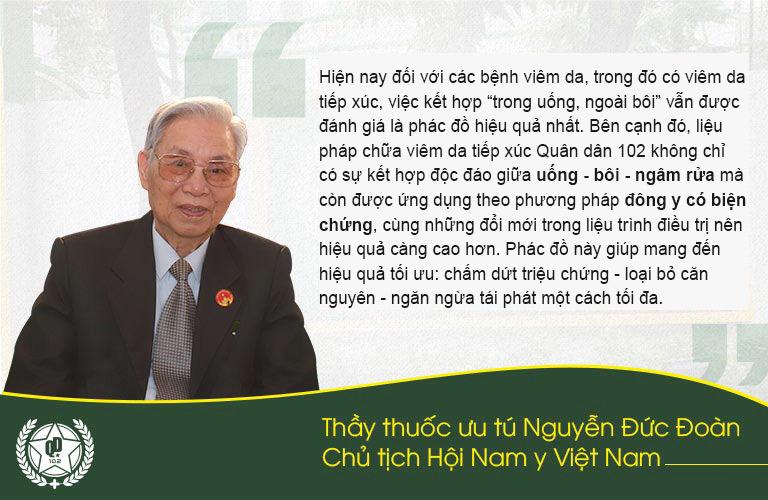 Đánh giá của thầy thuốc ưu tú Nguyễn Đưvs Đoàn về liệu pháp chữa viêm da tiếp xúc Quân dân 102