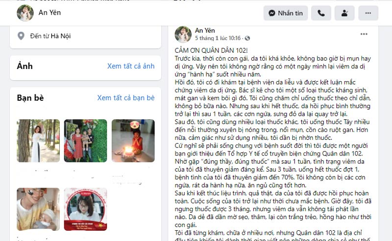 Chia sẻ của bạn An Yên trên trang facebook cá nhân