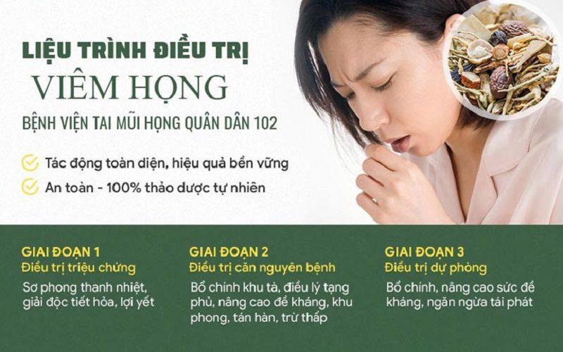 Bài thuốc chữa viêm họng của Tổ hợp y tế cổ truyền biện chứng Quân dân 102