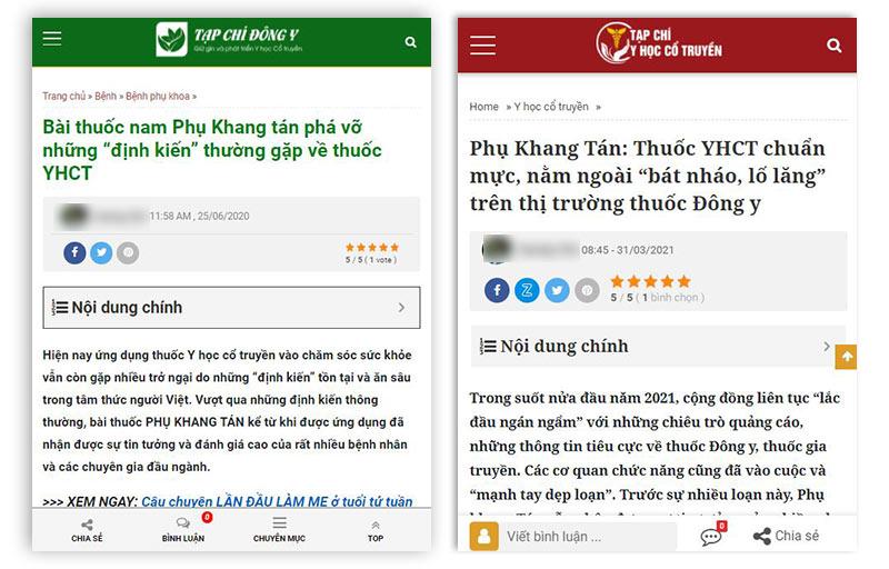 Phụ Khang Tán được đánh giá cao tại hai tạp chí hàng đầu về y học cổ truyền