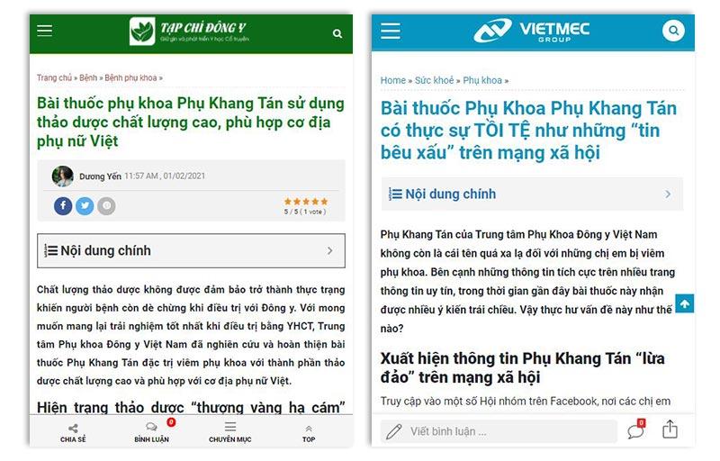 Phụ Khang Tán xuất hiện trên nhiều báo chí uy tín