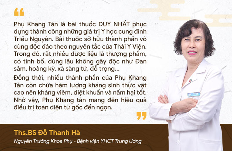 Bác sĩ Thanh Hà đánh giá cao thành phần thảo dược của Phụ Khang Tán