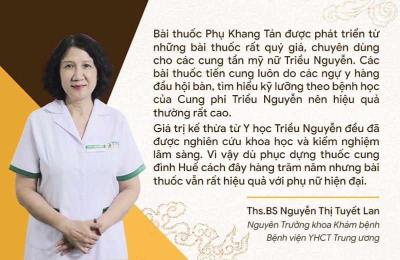 Nhận định của bác sĩ Tuyết Lan về Phụ Khang Tán