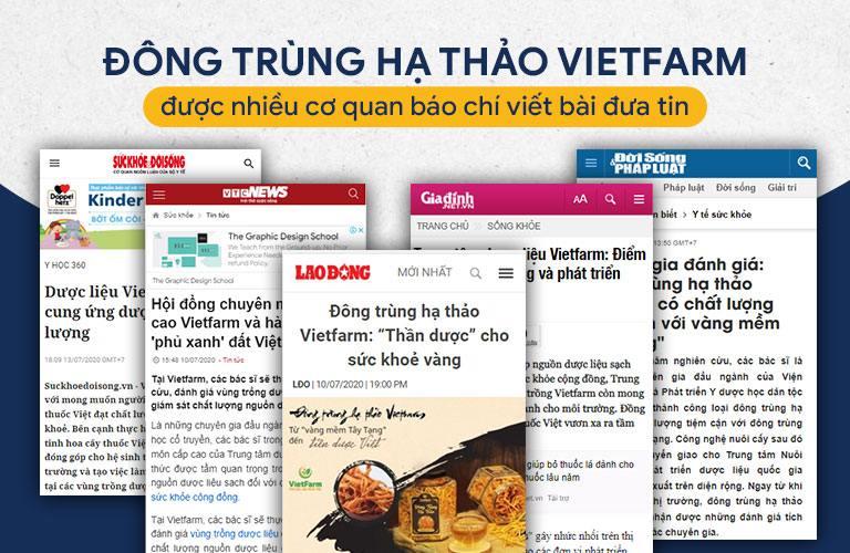 Đông trùng hạ thảo Vietfarm được nhiều kênh báo chí đưa tin
